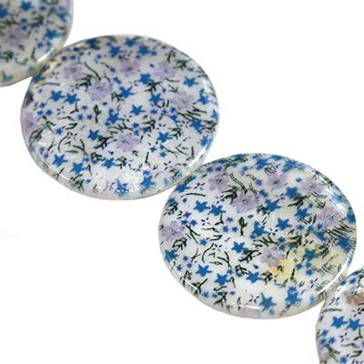 mother of pearl coin forget-me-not 30 mm