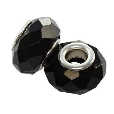 koraliki modułowe akrylowe czarne 9 x 15 mm