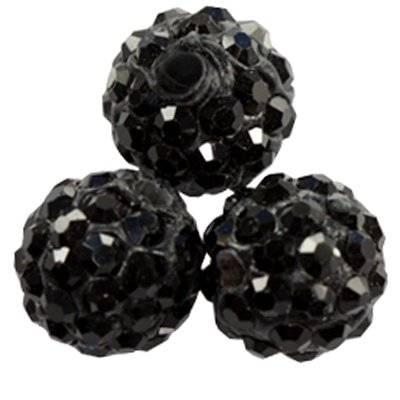 fimo round caramballa rhinestones black 10 mm