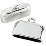 końcówki plastikowe kolor srebrny 21 mm / końcówki do wklejania/ końcówki do biżuterii
