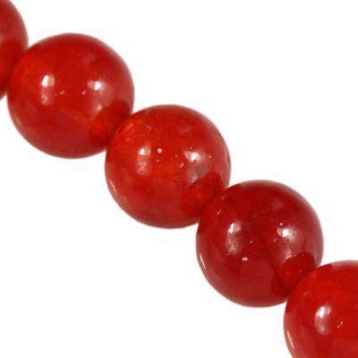 jade beads ruby 6 mm / semi-precious stone dyed
