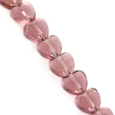 glass beads heart amethyst 6 mm