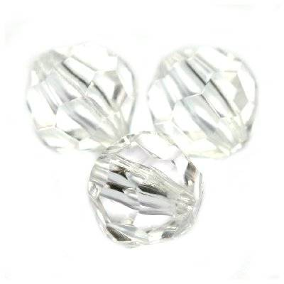 plastic faceted round beads transparent 6 mm