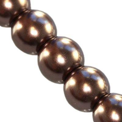 glass pearls brown 6 mm