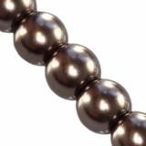 szklane perełki brązowe 6 mm