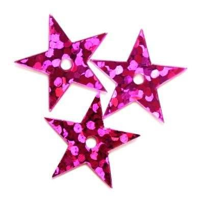 sequins laser stars pink 13 mm