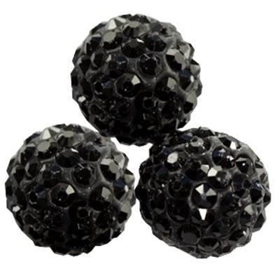 perles noires fimo boules caramballa cristaux 12 mm