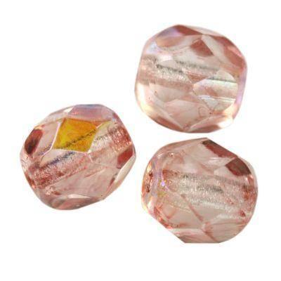 Fire Polish 6mm light pink ab koraliki fasetowane