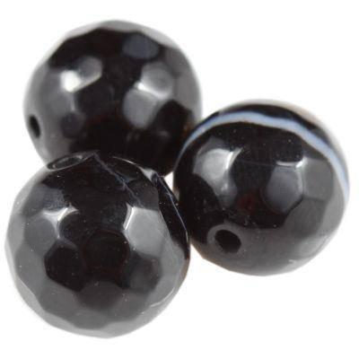 agat fasetowane czarny 10 mm kamień półszlachetny naturalny barwiony