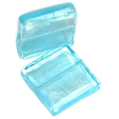 lampwork beads azure 20 x 20 mm square