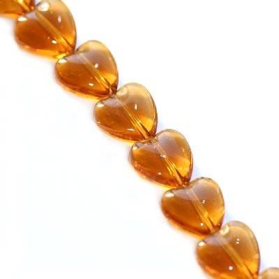 glass beads heart brown 6 mm