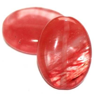 owale wiśniowy kwarc 15 x 20 mm kamień jubilerski