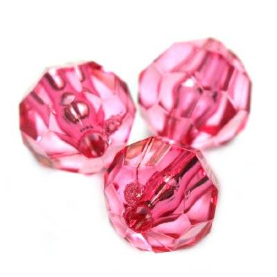 plastic faceted round beads pink 6 mm