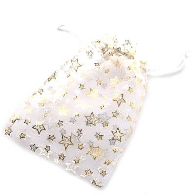 organza bag white with stars 12 x 18 cm