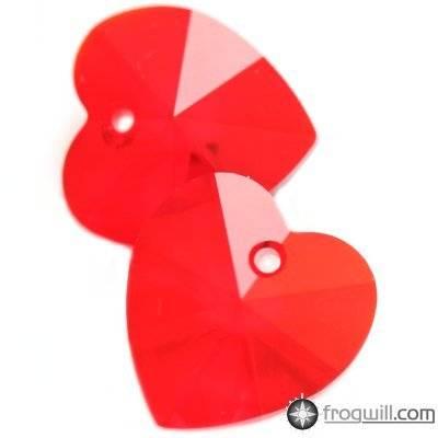 Swarovski heart pendants light siam 10.3 x 10 mm