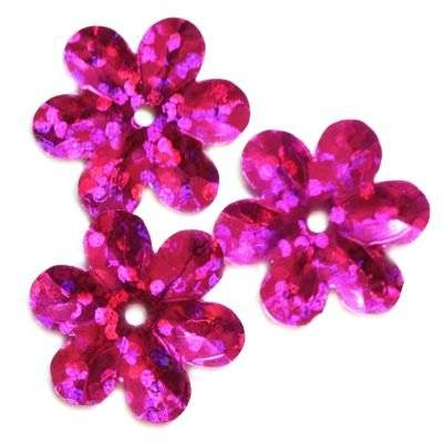 sequins laser flowers pink 15 mm