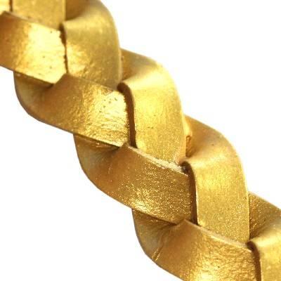 lanière tressée plate d'or 14 mm