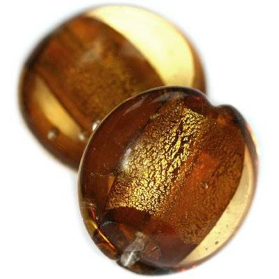 lampwork beads deep gold 19 mm puff