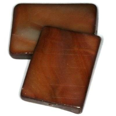 mother of pearl rectangle 15 x 20 mm brown