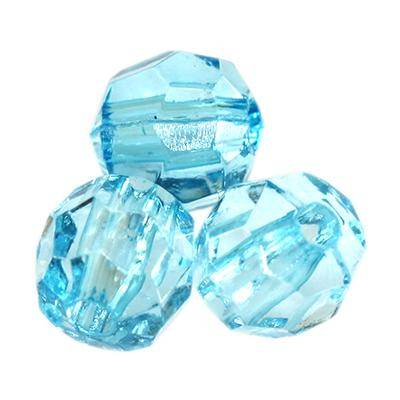 plastic faceted round beads blue 6 mm