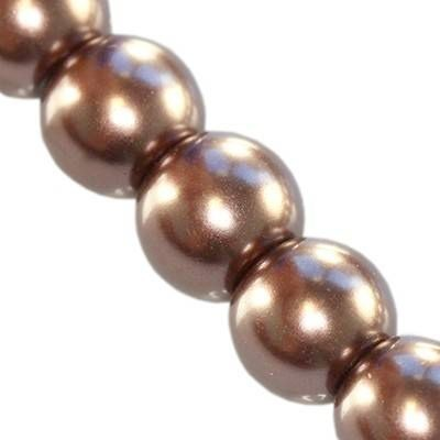 glass pearls brown 10 mm
