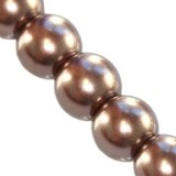 perles de verre brun de 10 mm