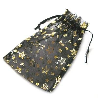 organza bag black with stars 12 x 18 cm