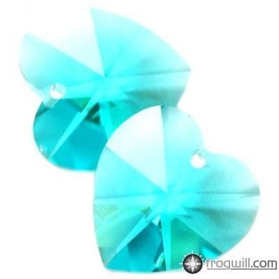 Swarovski heart pendants blue zircon 10.3 x 10 mm