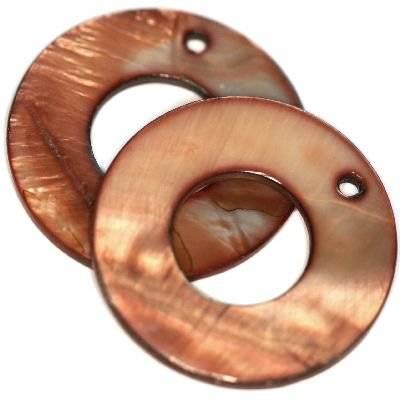 zawieszki masa perłowa koła brązowe 30 x 13 mm