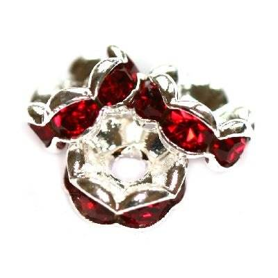 spacers rings with zircons ruby 6 mm