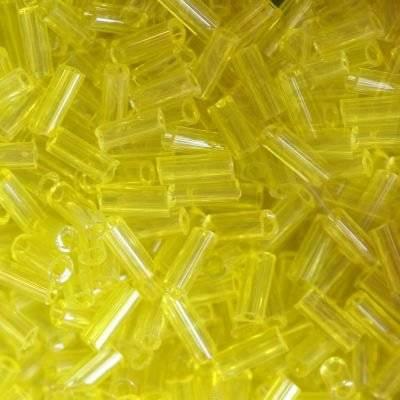 stiklo karoliukų vamzdžiai geltona 4,5 mm