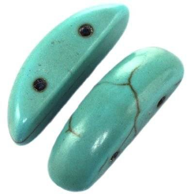 turquoise half ovals 7 x 25 mm / semi-precious stone synthetic