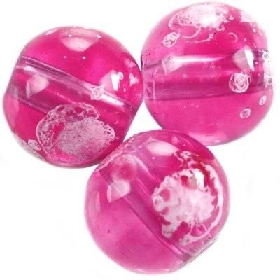 perles de verre rose transparent Galactic 12 mm