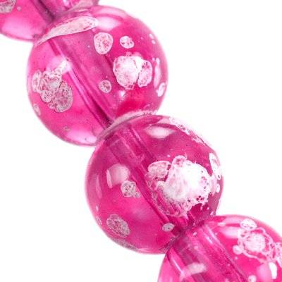 glass beads galactic transparent pink 12 mm