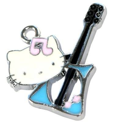 pendentifs charms chat avec guitarre 25 x 18 mm