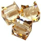 Swarovski cubes beads crystal golden shadow 'b' 6 mm
