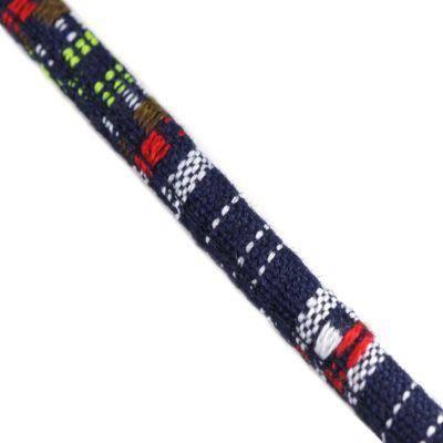 tecido de fio azul marinho e vermelho 7 mm