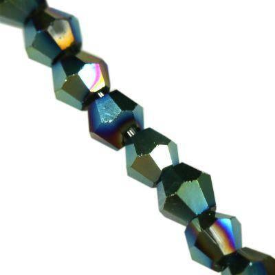 Crystaline bicônes verts enrobés 3 mm / perles de cristal