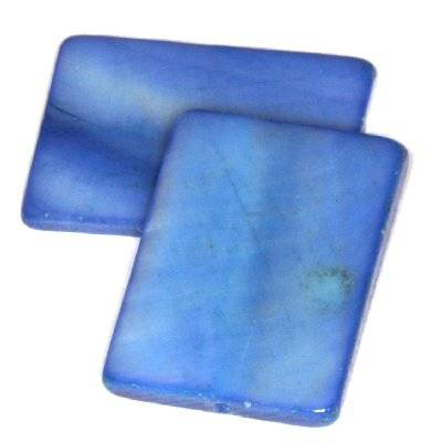 mother of pearl rectangle 15 x 20 mm blue