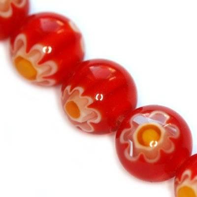 koraliki czerwone millefiori kwiatek 10 mm