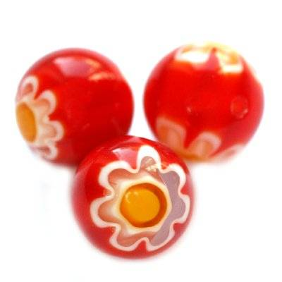 beads red millefiori flower 10 mm