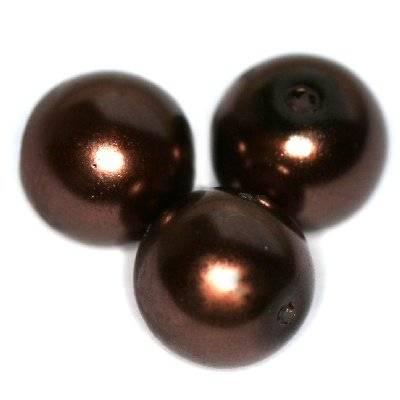 perline di vetro marrone 12 mm