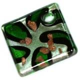lampwork beads pendants squares green teardrops 54 x 54 mm