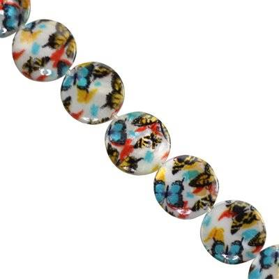 mother of pearl coin butterflies 14 mm