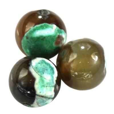 agat smocze oko zielony kule 10 mm kamień naturalny barwiony