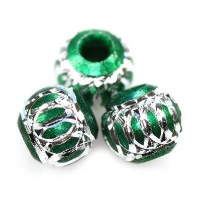 round aluminium beads emerald 8 mm