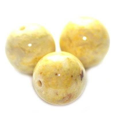 marble beads dyed yellow 6 mm / natural stone dyed