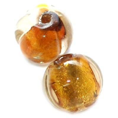 lampwork beads gold 10 mm round