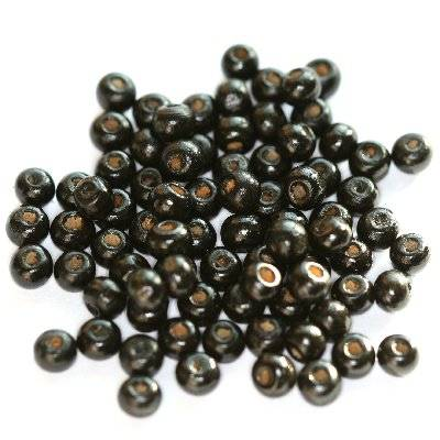 round wooden beads black 5 x 6 mm