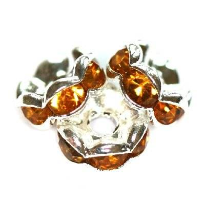 spacers rings with zircons topaz 6 mm